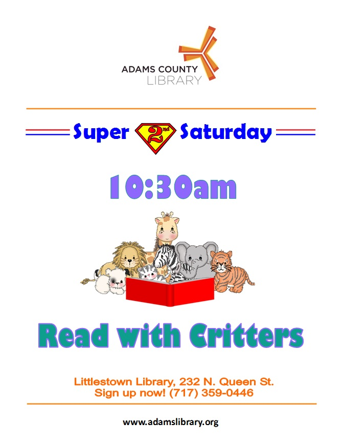 Come read with therapy animals at 10:30 am.