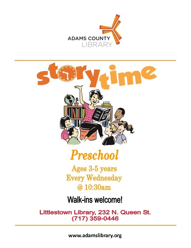 Join us each Wednesday for Preschool story time at 10:30 a.m. (except holidays)