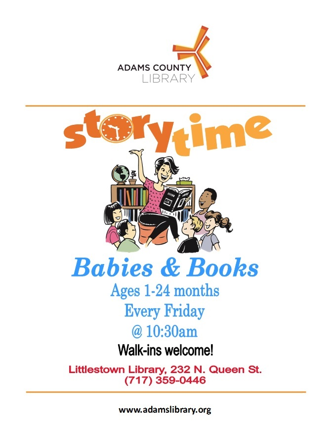 Join us every Friday at 10:30am for Baby Story Time (except holidays).