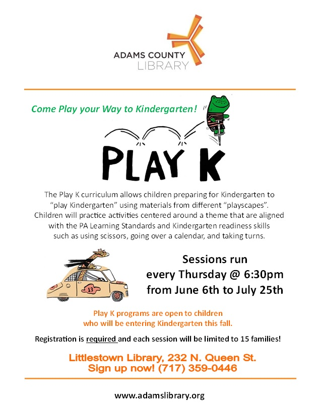 Play K program to prepare children for kingergarten will take place every Thursday at 6:30pm. Registration is required, limit of 15 families.