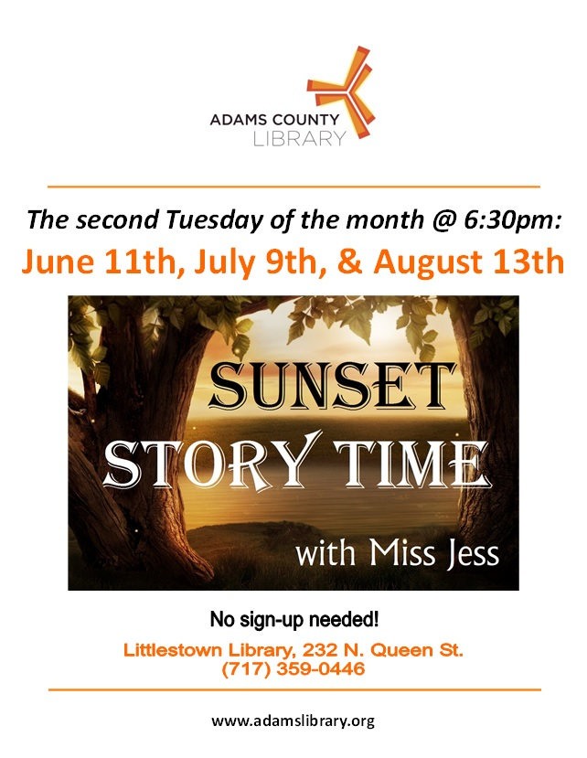 Join us for Sunset Story Time with Miss Jess on the second Tuesday of the month @ 6:30pm through the summer.