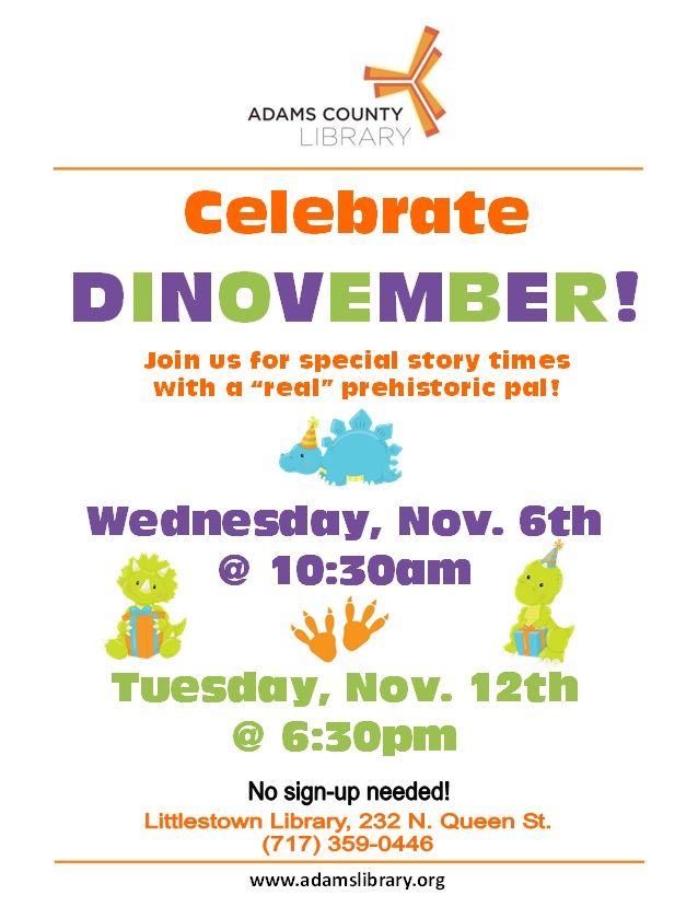 Celebrate Dinovember at Preschool Story Time Wednesday, November 6, 2019 @ 10:30am.