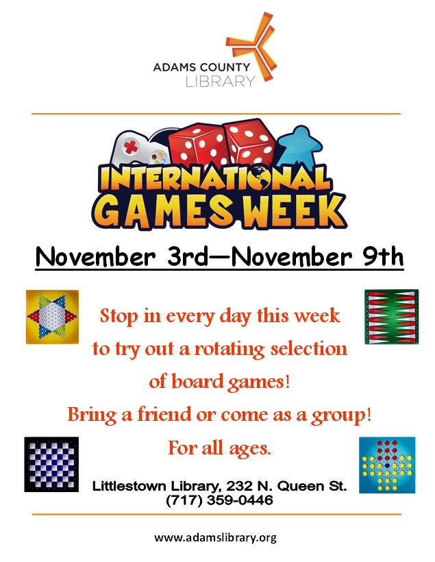 International Games Week runs from November 3, 2019 until November 9, 2019. Enjoy a rotating selection of games throughout the week. For all ages.