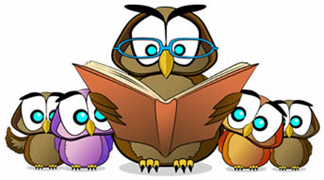 Cartoon image of owls reading.
