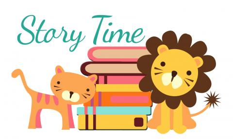 Cartoon image with wording Story Time