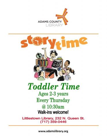 Join us every Thursday at 10:30am for Toddler Story Time (except holidays).