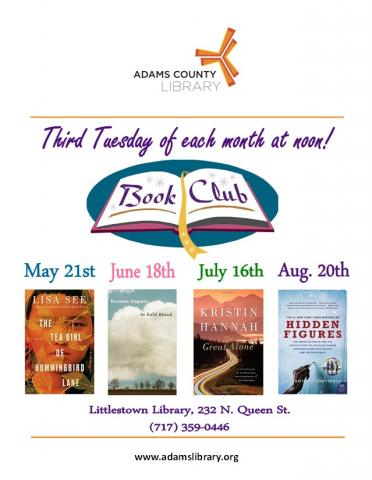 The Rendezvous Book Club meets on the third Tuesday of each month at noon. Contact the library for the list of books to be discussed.