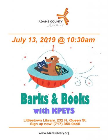 Barks and Books with KPETS is on Saturday, July 13, 2019 at 10:30am.