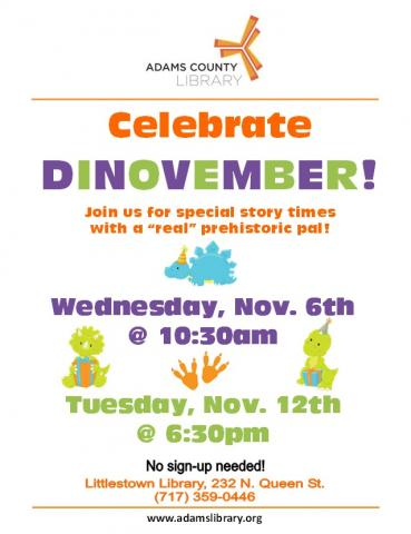 Celebrate Dinovember at Sunset Story Time on Tuesday, November 12, 2019 at 6:30pm.