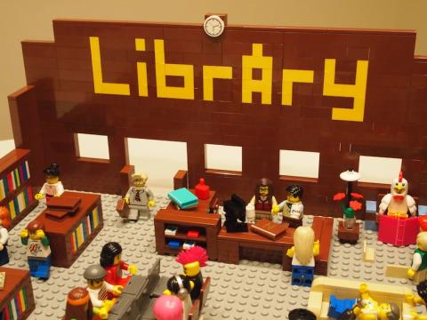 Image of a LEGO library interior