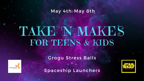 Pick up a Take n' Make for Teens & Kids from May 2nd through May 8th. This month we are making Grogu Stress Balls and Spaceship Launchers in honor of Star Wars Week!